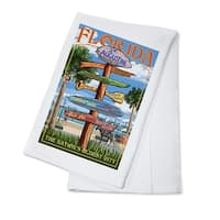 St. Augustine, FL - Destinations Sign - LP Artwork (100% Cotton Towel Absorbent)