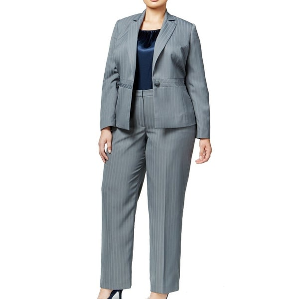 893f2b5a3fdb4 Shop Le Suit NEW Gray Womens Size 20W Plus Striped 3-Piece Pant Suit ...