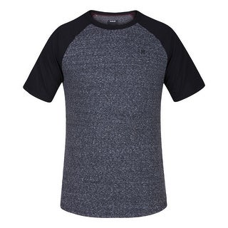 Hurley Black Mens Crewneck Knit Raglan Tee T-Shirt