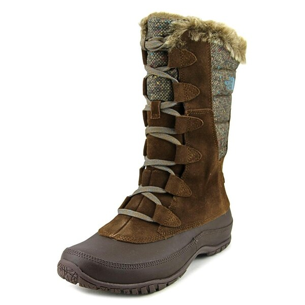 The North Face Nuptse Purna Women Round Toe Suede Brown Snow Boot