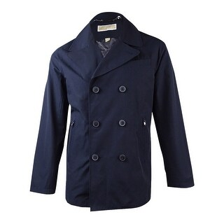 Michael Kors Men's Cameron Double-Breasted Raincoat (M, Navy) - Navy - M