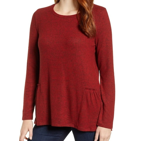 Caslon Red Womens Size XXL Long Sleeve Pleated Pullover Sweater