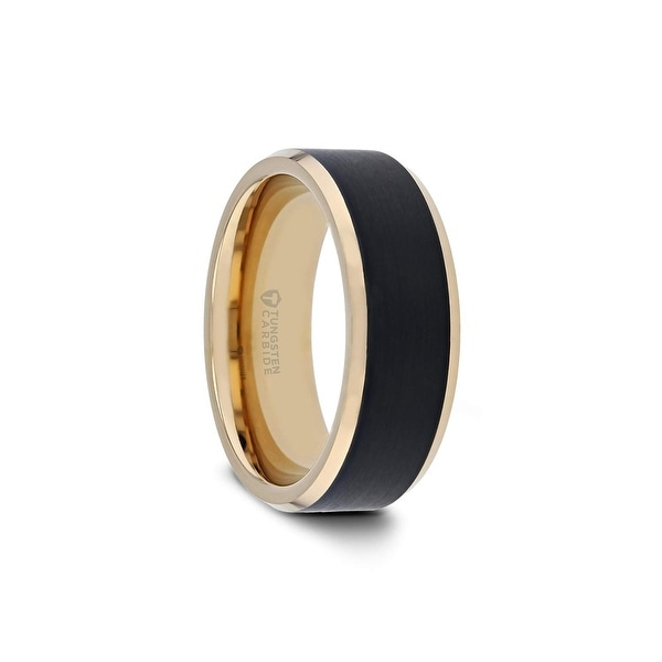 8mm Black Domed Tungsten Carbide Wedding Ring with a Gold edge