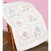 "Sunbonnet Sue - Stamped White Lap Quilt Top 40""X60"""