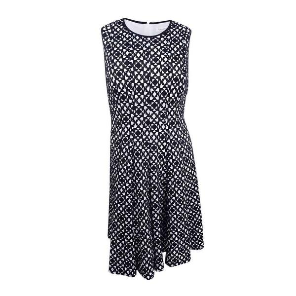 7ab1f9082d3 Shop Calvin Klein Women s Plus Size Laser-Cut Fit   Flare Dress (24W