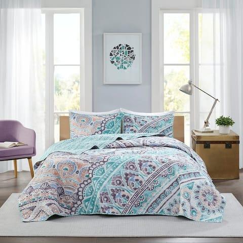 Isla Aqua Printed Reversible Cotton Coverlet Set by Intelligent Design