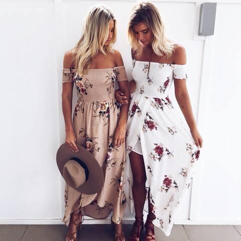 Boho Off The Shoulder Floral Maxi Dress