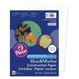 SunWorks Heavyweight Construction Paper, 9 x 12 Inches, Bright White, Pack of 50