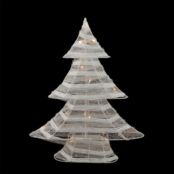 "18.5"" Battery Operated White and Silver Glittered LED Lighted Christmas Tree Table Top Decoration"