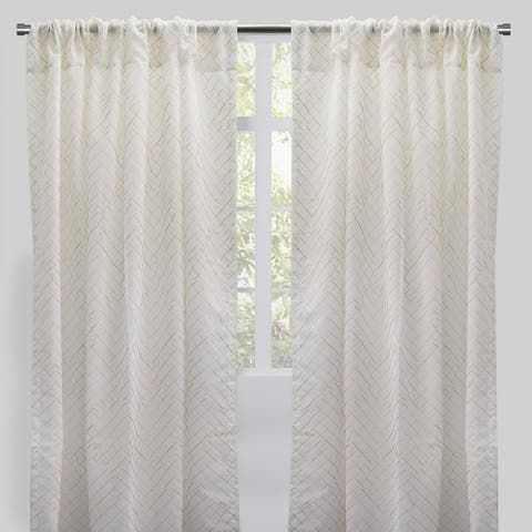 "Rodeo Home Lasky Rod Pocket Metallic Sheer Curtain Panels (Set of 2) - 54"" x 96"" - 54"" x 96"""