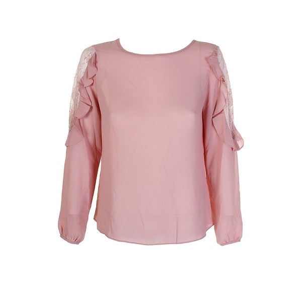 a895170a63ad6 Shop Soloiste Pink Long-Sleeve Cold Shoulder Lace Inset Ruffled ...