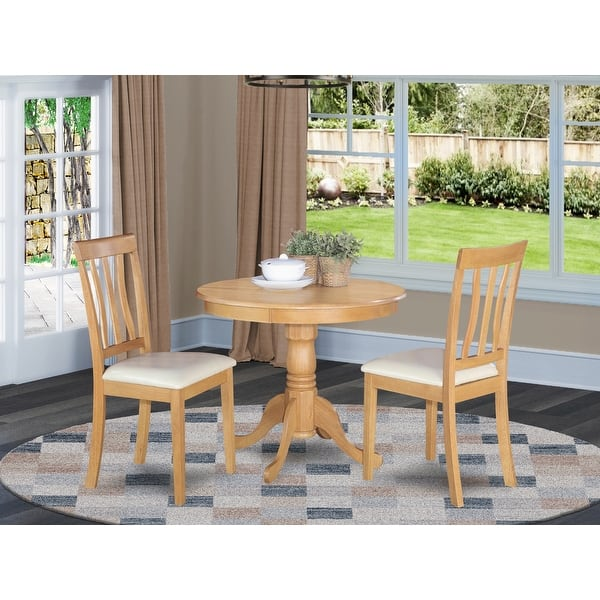 Oak Small Kitchen Table Plus 2 Chairs 3 Piece Dining Set Overstock 10201200