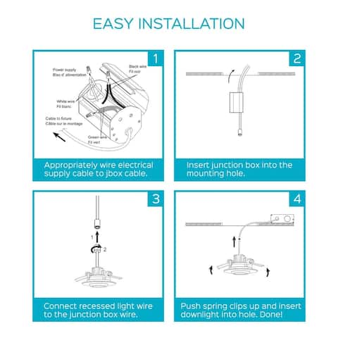 Luxrite 2 Inch Gimbal LED Recessed Light with J-Box, 5W, 400lm, Dimmable, Energy Star, IC Rated, ETL Listed, Damp Rated
