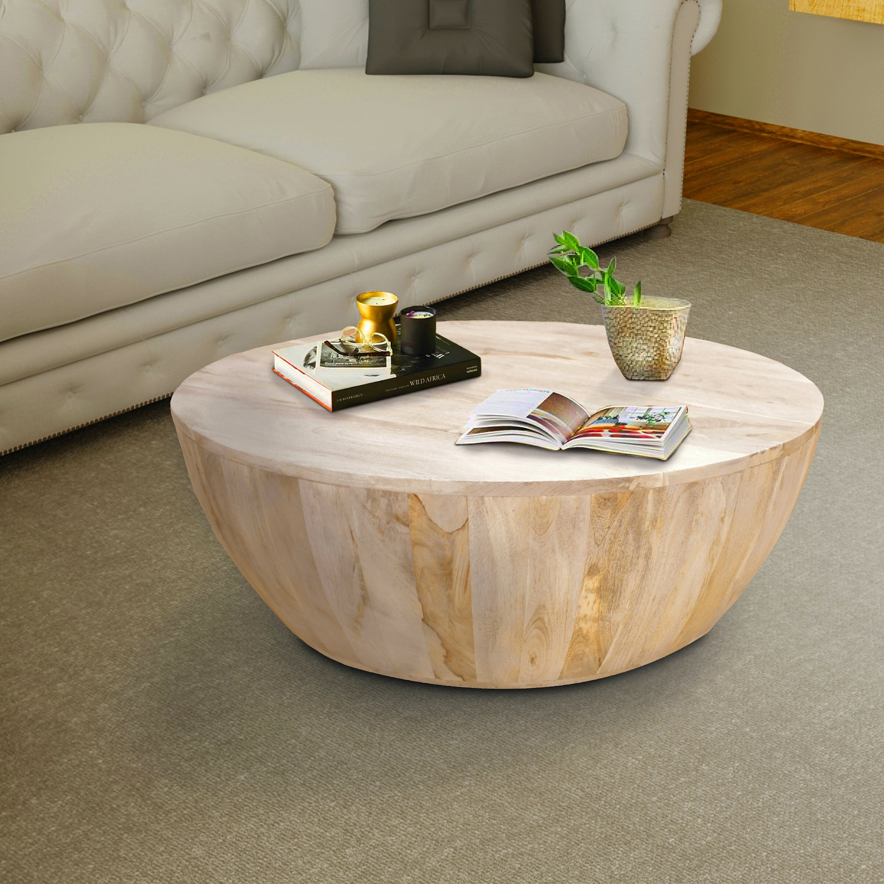 - Shop Distressed Mango Wood Round Coffee Table - Overstock - 27296417