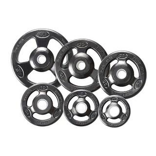 Rubber Encased Steel Composite Olympic Grip Plate- Black - 10 lbs