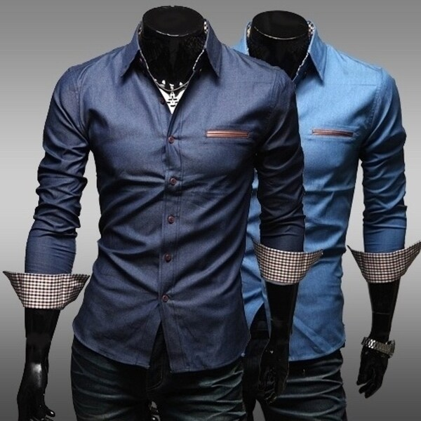 New Unique Leather Pocket Water Wash 100 percent Cotton Casual Male Slim Long-Sleeve Fashion Shirt M-Xxl. Opens flyout.