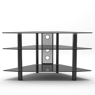 "Link to Ryan Rove Ruby 44"" Corner Glass TV Stand with Cable Management - Black - 44""W x 24""D x 22""H Similar Items in Corner TV Stands"