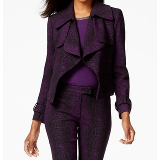 Anne Klein NEW Purple Womens Size 6 Reptile Print Cropped Trench Jacket