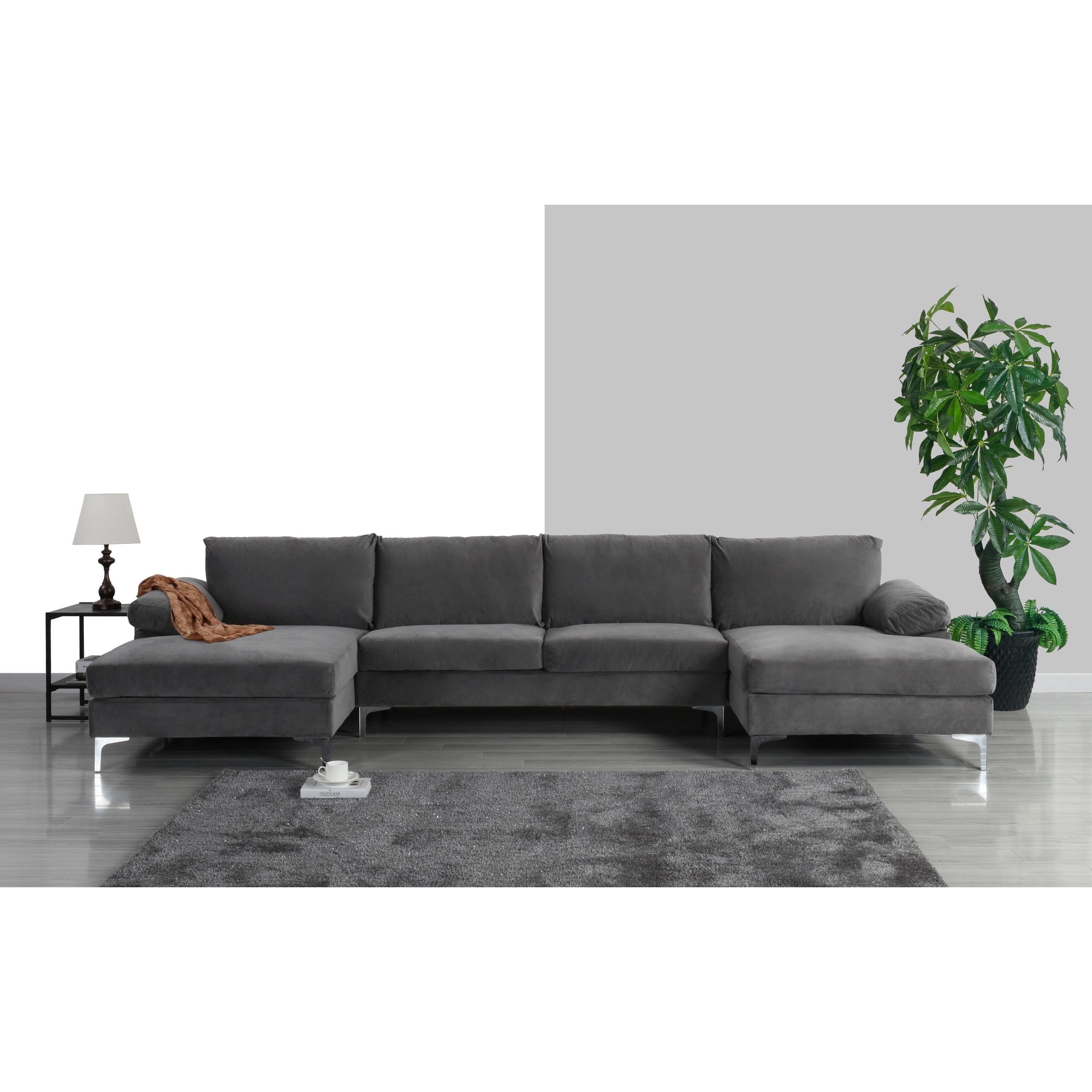 Modern XL Velvet Upholstery U-shaped Sectional Sofa - On Sale - Overstock - 28156967