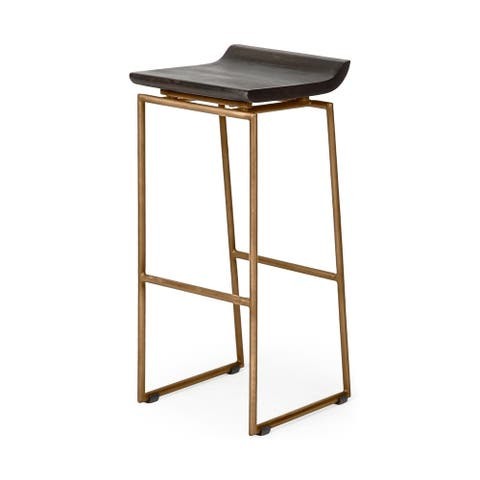 """Mercana Givens 30.25"""" Seat Height Brown Wood Seat Gold Metal Base Stool"""