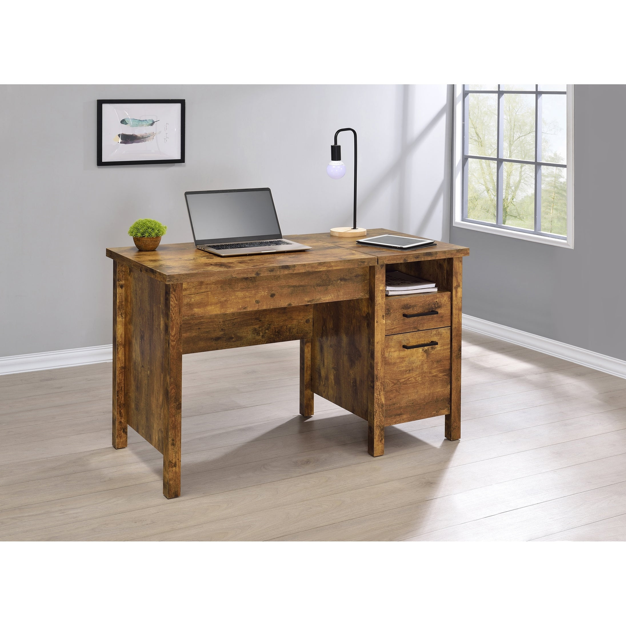 Chicolm Antique Nutmeg Lift Top Office Desk With File Cabinet Overstock 32118147