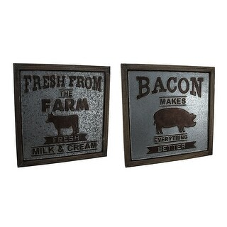 Set of 2 Rustic Farm Cow & Bacon Pig Galvanized Metal Wood Frame Wall Signs - Silver