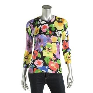 Lauren Ralph Lauren Womens Pullover Sweater Floral Print 3/4 Sleeves