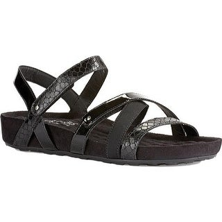 Walking Cradles Women's Pool Strappy Sandal Black Textured Multi Leather/Suede