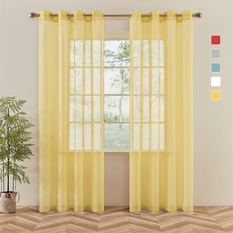 Topfinel Solid Grommet Sheer Window Curtains Faux Linen (Set of 2)