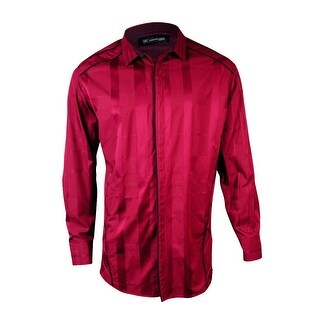 INC International Concepts Men's Slim-Fit Tonal Plaid Shirt - Maroon - XXL