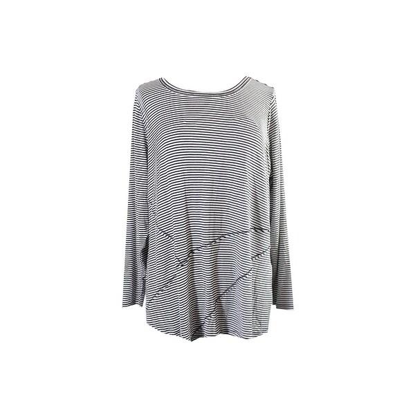 2530d544dad87 Shop Inc International Concepts Plus Size White Black Striped Top 2X ...
