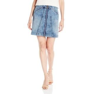 Buffalo David Button NEW Blue Women's Size 32 Zip Front A-Line Skirt