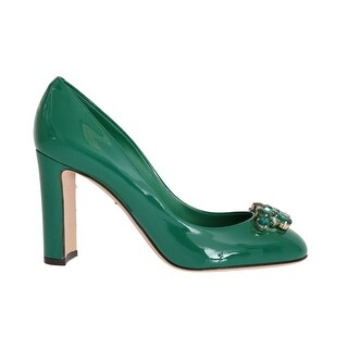 Dolce & Gabbana Green Crystal Leather Pumps - eu39-us8-5
