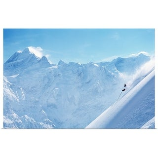 """""""Person downhill skiing in deep powder, side view"""" Poster Print"""