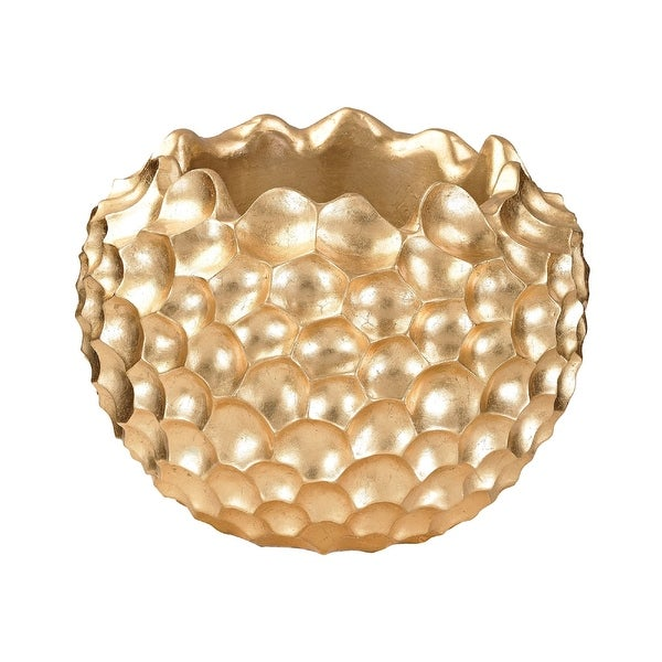 "11.5"" Gold Geometrical Coral Texture Vessel - N/A"