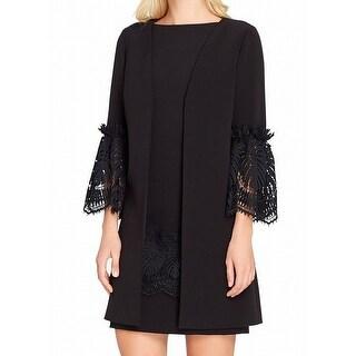 Tahari By ASL Black Womens Size 8 Lace Sleeve Dress Suit Set
