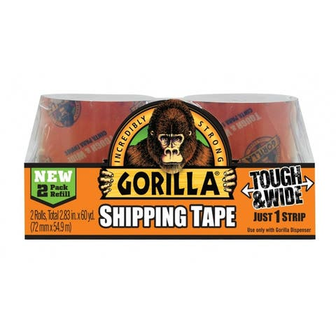 "Gorilla 6030402 Tough & Wide Packaging Tape, Clear, 3"" x 30 Yd, 2-Pack Refill"