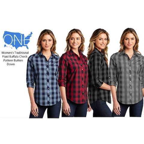 One Country United Women's Fashion Plaid Long SleeveTop