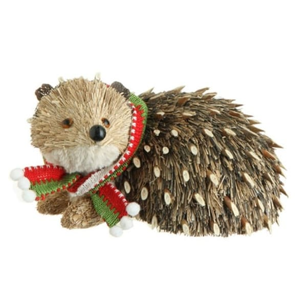 "8.5"" Snowy Time Natural Grass Brown Hedgehog Christmas Table Top Piece"