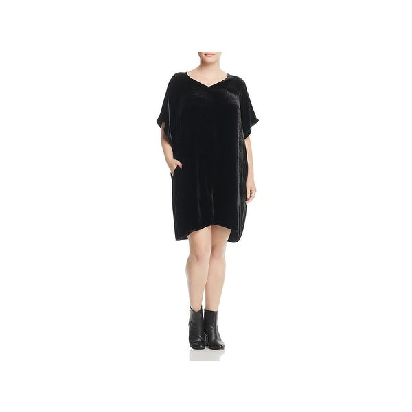 7bfeb09cb61 Shop Eileen Fisher Womens Plus Cocktail Dress Velvet V-Neck - Free ...