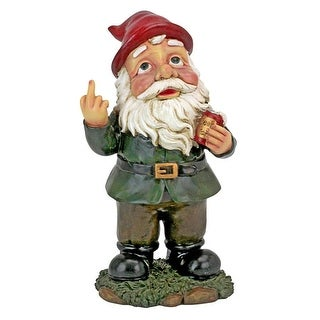 Design Toscano Foul Finger Tipsy Tim Beer Garden Gnome Statue