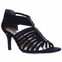 SC35 Shaynaa Strappy Jeweled T-Strap Sandals, Black