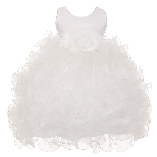 Baby Girls White Satin Sash Ruffles Flower Girl Special Occasion Dress 6-24M