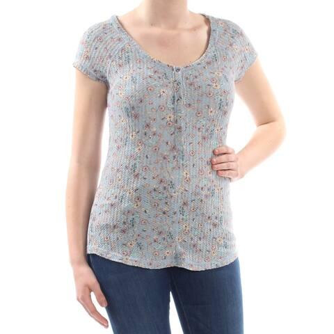 WILLIAM RAST Womens Blue Button Floral Cap Sleeve Scoop Neck T-Shirt Top Size: M