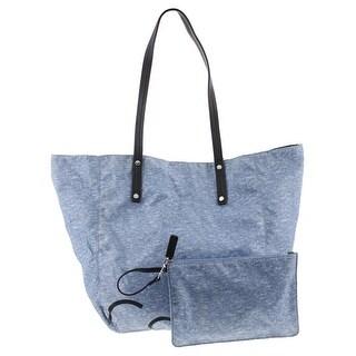 Calvin Klein Womens Tote Handbag Heathered Contrast Trim - Extra large
