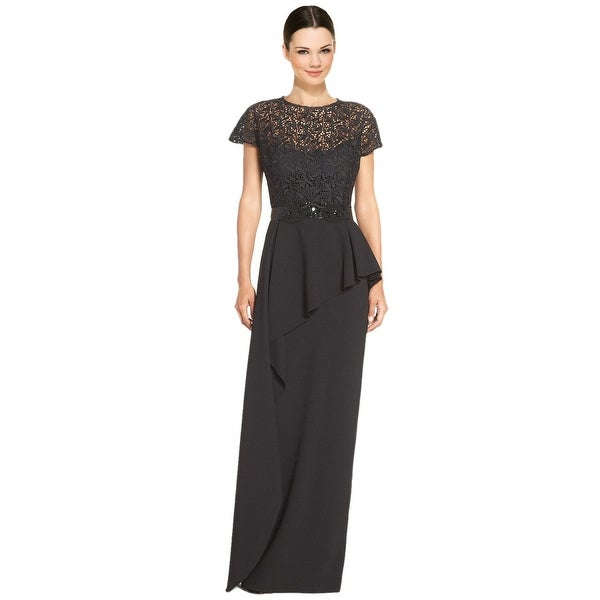 Teri Jon Embellished Lace Bodice Peplum Evening Gown Dress - Free ...