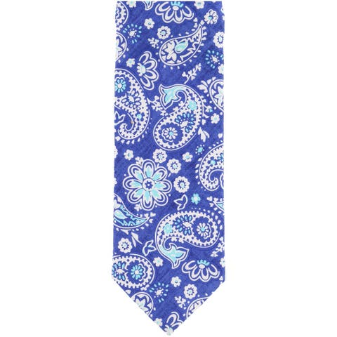 Tallia Mens Paisley Self-tied Necktie, blue, One Size - One Size