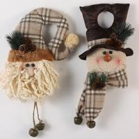 "Set of 2 Modern Lodge Natural Santa Claus and Snowman Christmas Door Hangers 16"""