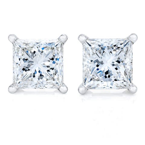 AGS Certified 14k Yellow or White Gold 1/4 cttw to 2 cttw Princess-Cut Solitaire Diamond Stud Earrings (K-L Color, SI2-I1)