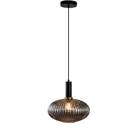 Black & Antique Gold Pendant With Smoke Shade